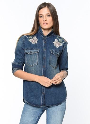 Jean Gömlek | Meg - Normal Kesim-Mavi